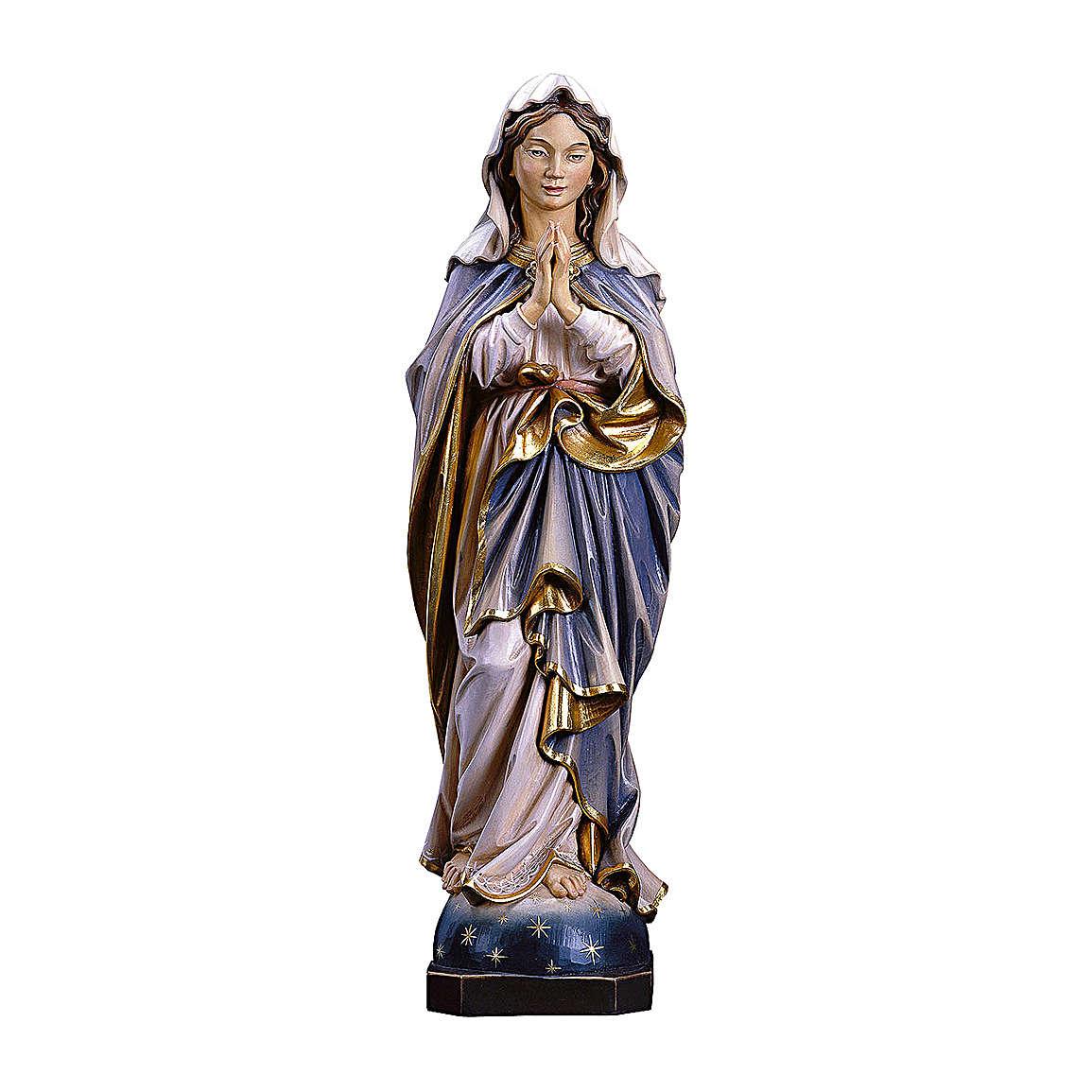 Statua Madonna Immacolata che prega in legno dipinto Val Gardena 4