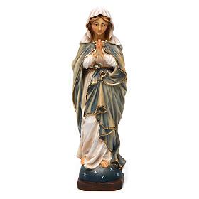 Statua Madonna Immacolata che prega in legno dipinto Val Gardena s1