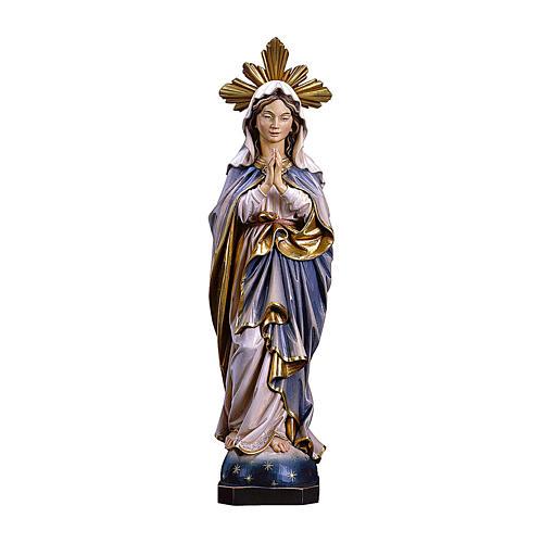 Statua Madonna Immacolata che prega con raggiera legno dipinto Val Gardena 1
