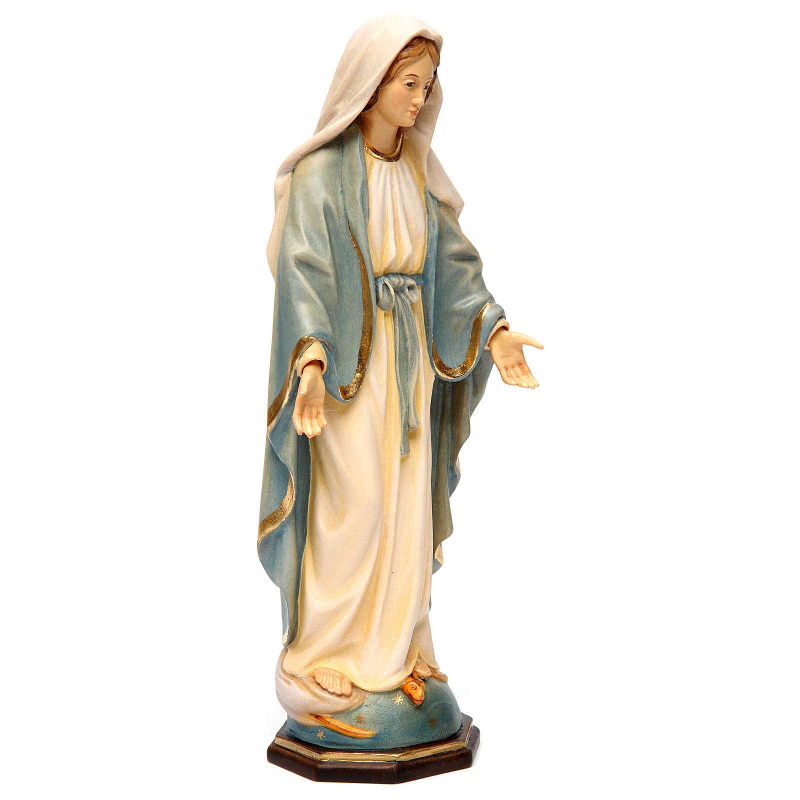 Estatua Virgen Milagrosa madera pintada Val Gardena 4