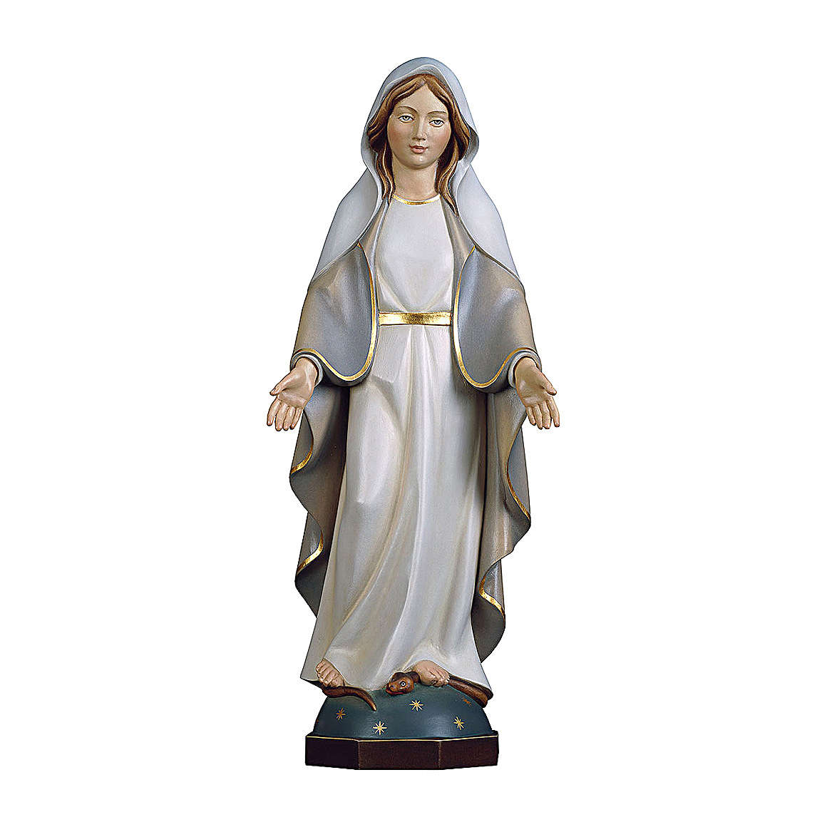 Miraculous Medal Madonna statue in painted wood, Val Gardena 4