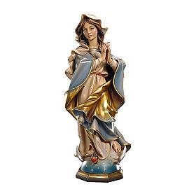 Statua Madonna Immacolata barocca legno dipinto Val Gardena 15-30-60 cm s1