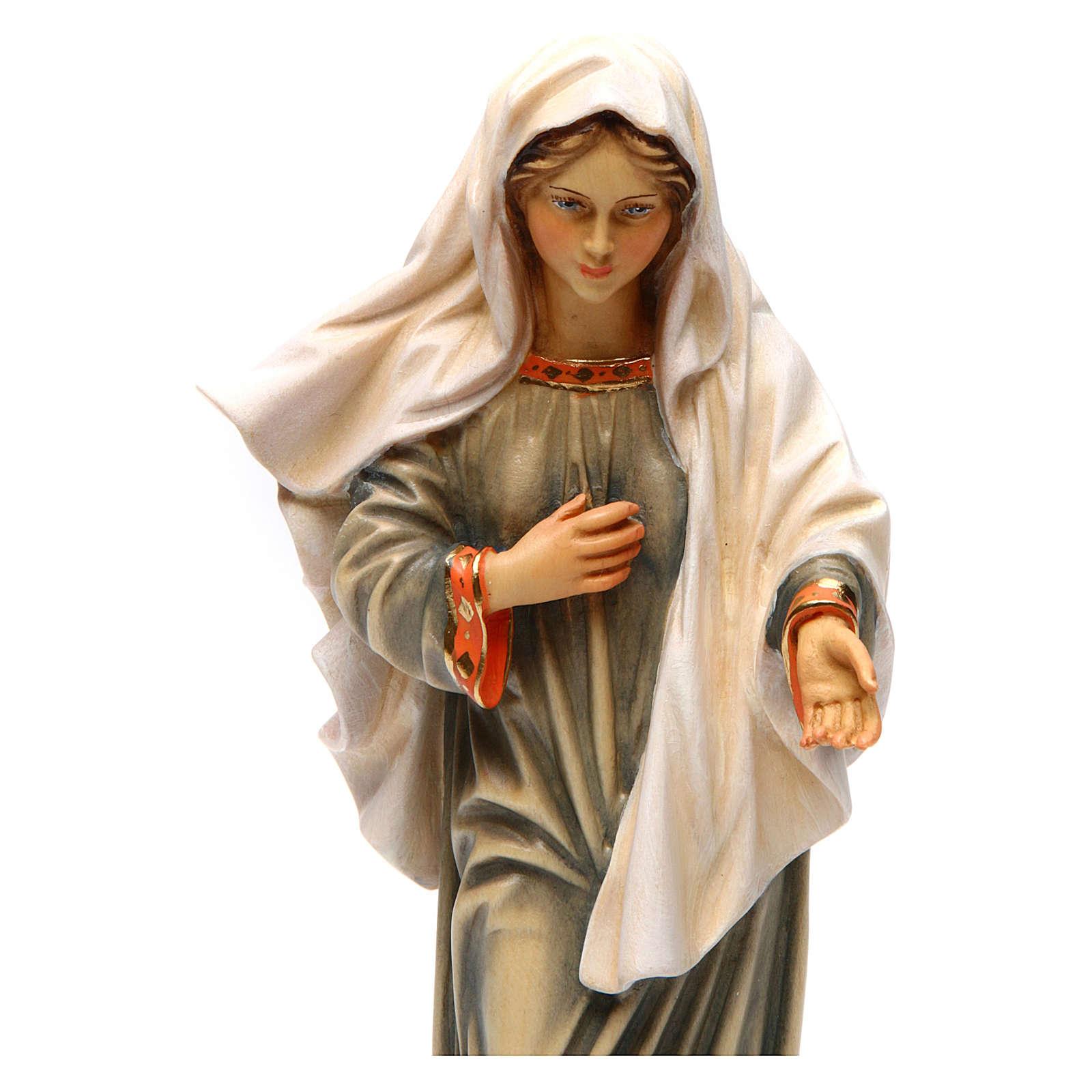 Statua Madonna di Medjugorje legno dipinto Val Gardena 4