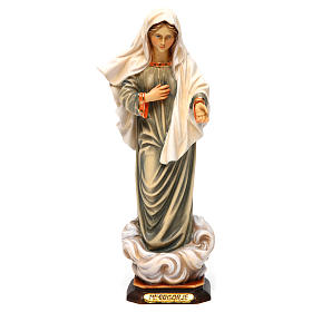 Hand painted wooden statues: Our Lady of Medjugorje painted Valgardena wood statue
