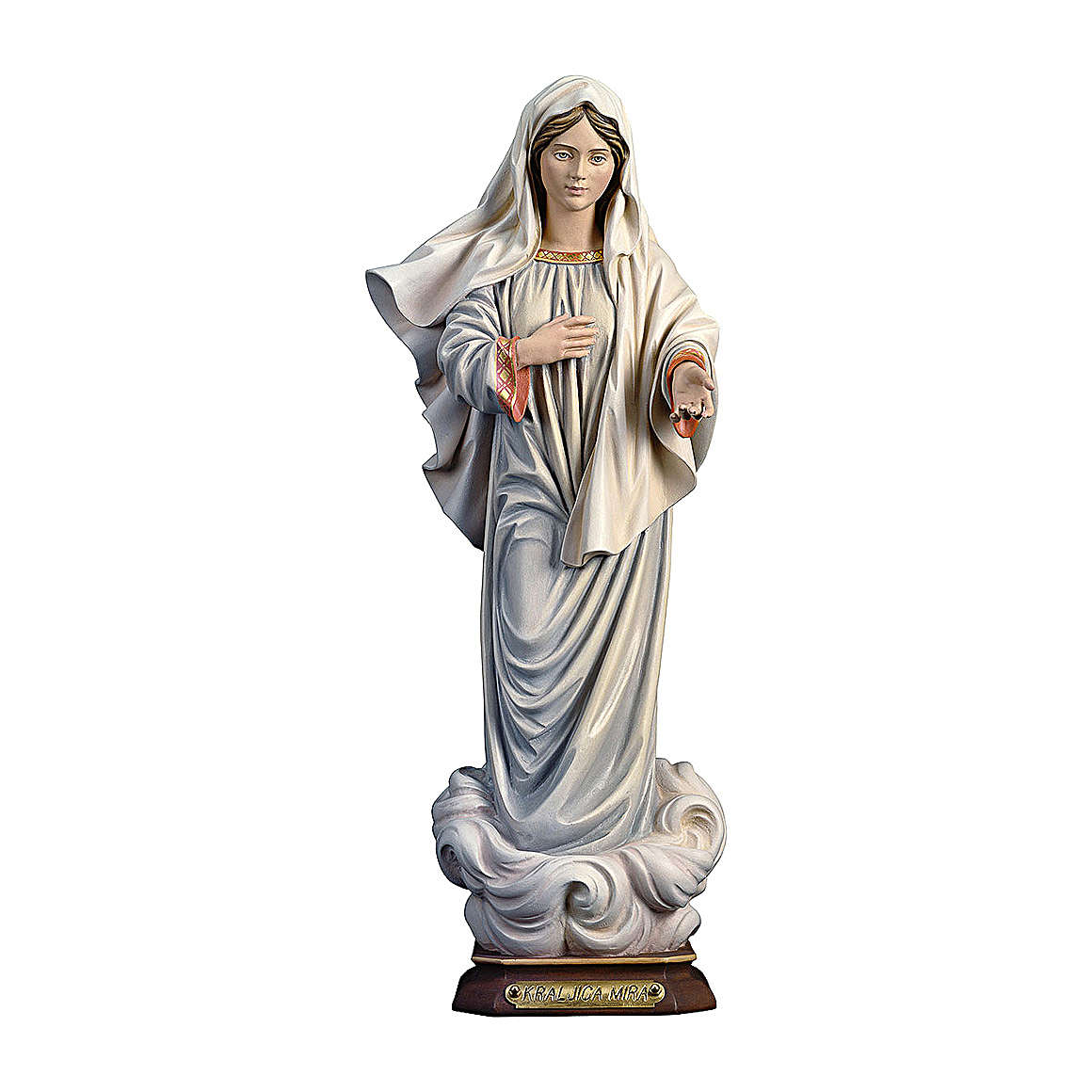 Statua Madonna Kraljica Mira legno dipinto Val Gardena 4