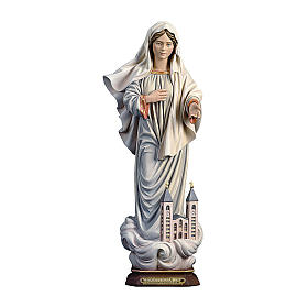 Hand painted wooden statues: Our Lady of Medjugorje with church painted Valgardena wood statue