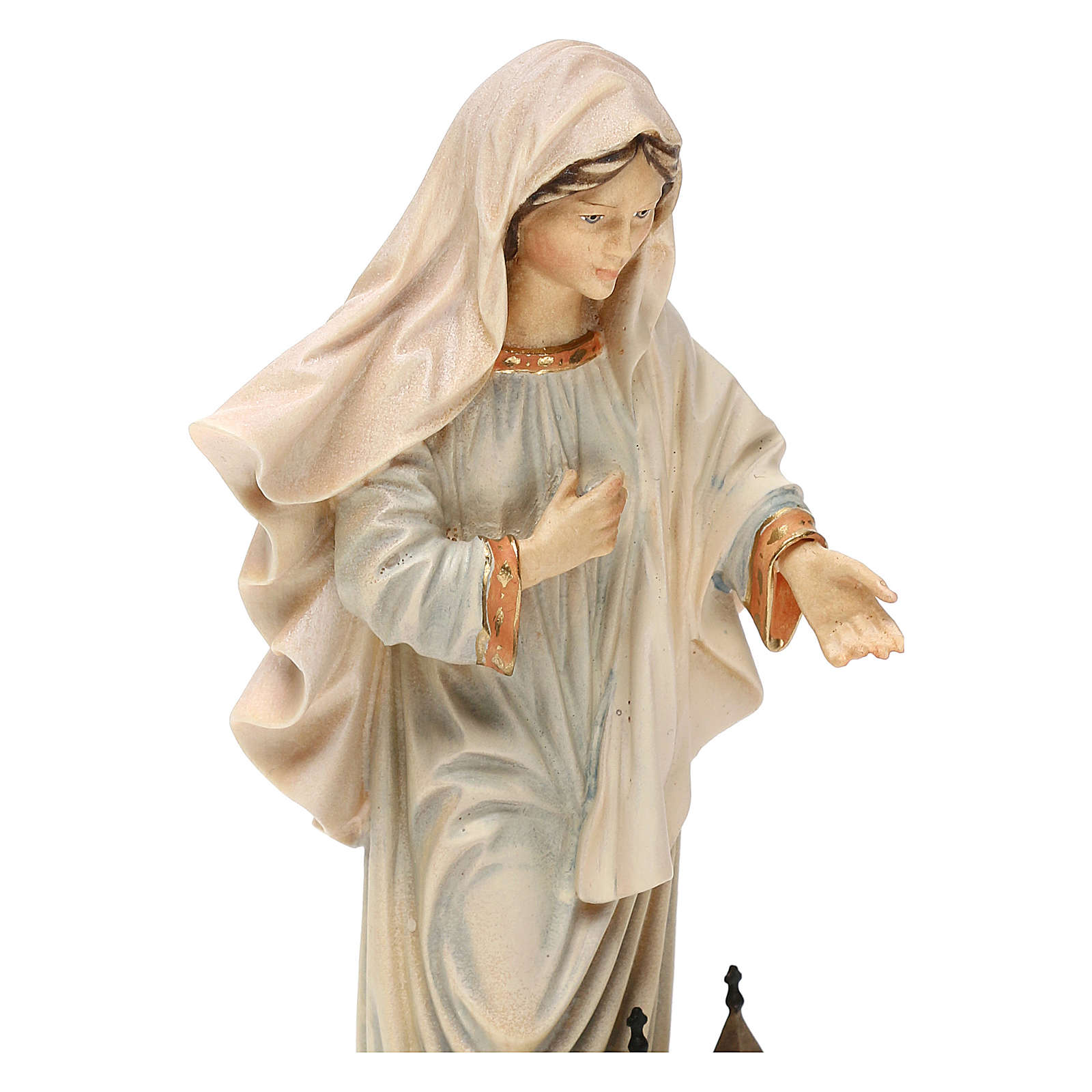 Estatua Virgen reina de la paz con iglesia madera pintada Val Gardena 4