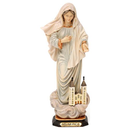 Statue Notre-Dame Reine de la Paix avec église bois peint Val Gardena 1