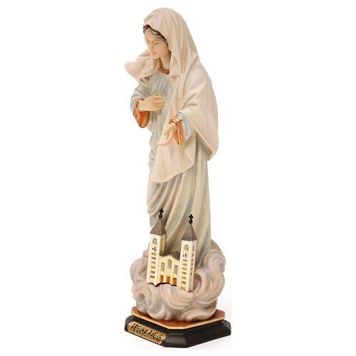 Statue Notre-Dame Reine de la Paix avec église bois peint Val Gardena 3