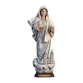 Statua Madonna regina della pace con chiesa legno dipinto Val Gardena s1