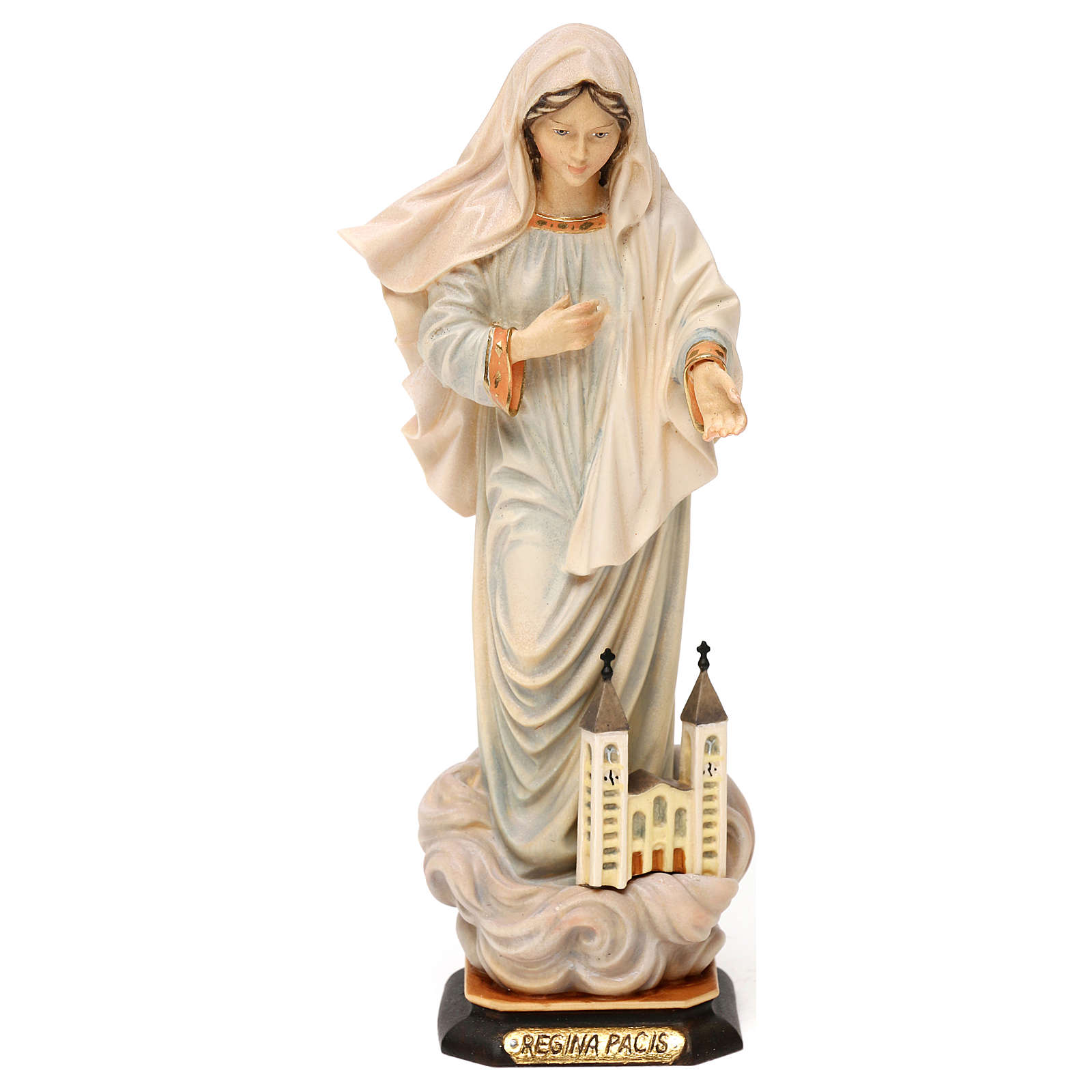 Madonna Statue queen of peace with church painted wood Val Gardena 4