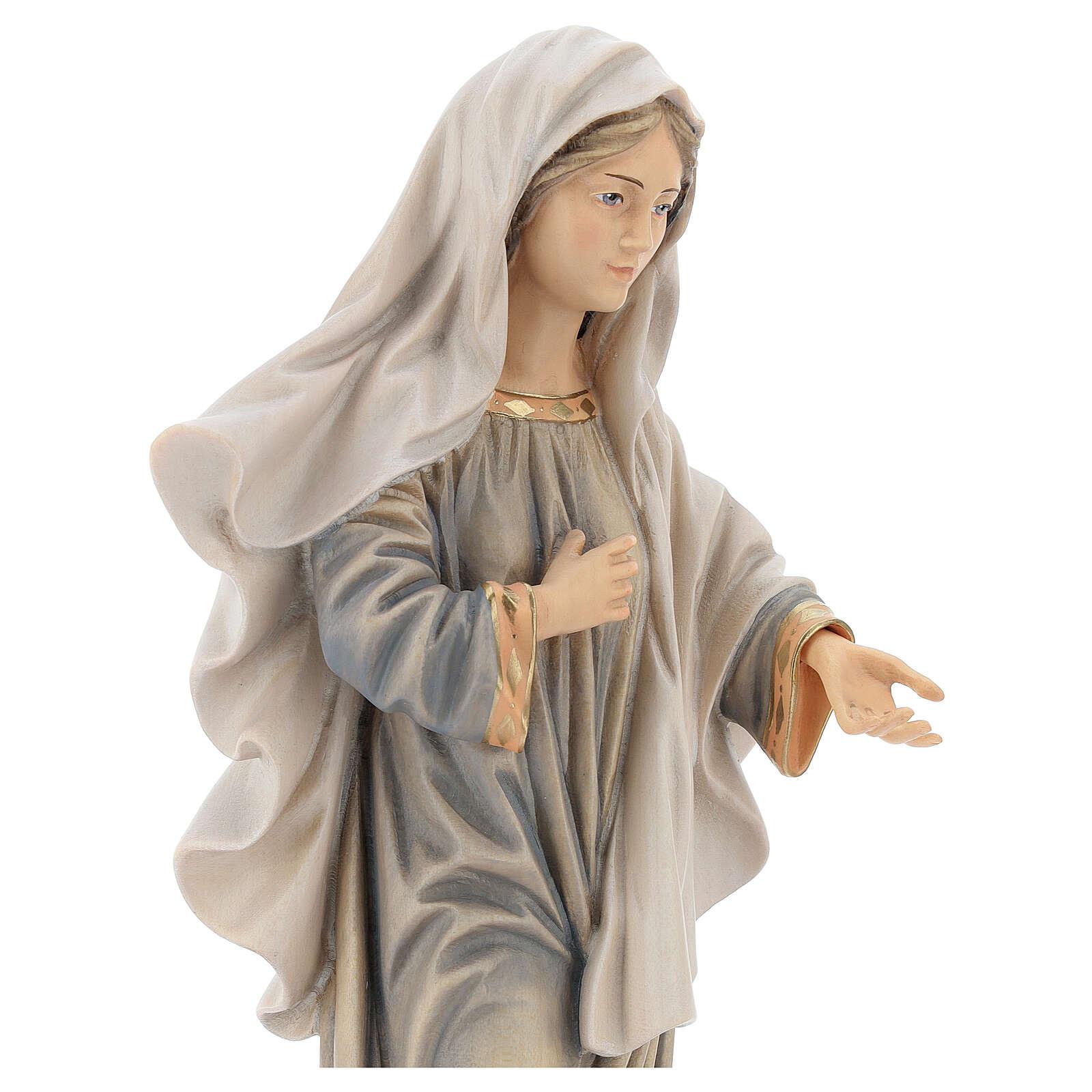 Statue Kraljica Mira avec église bois peint Val Gardena 4