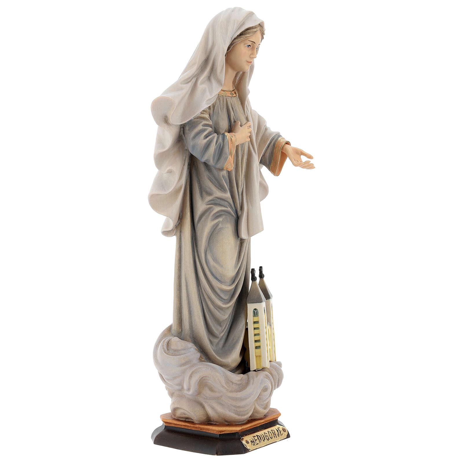 Statua Kraljica Mira con chiesa legno dipinto Val Gardena 4