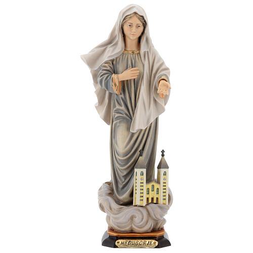 Statua Kraljica Mira con chiesa legno dipinto Val Gardena 1