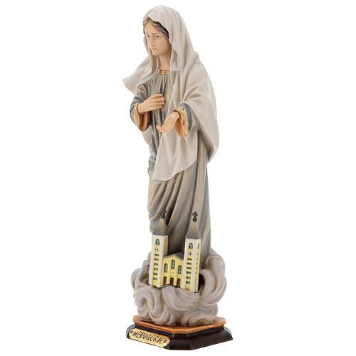 Statua Kraljica Mira con chiesa legno dipinto Val Gardena 3
