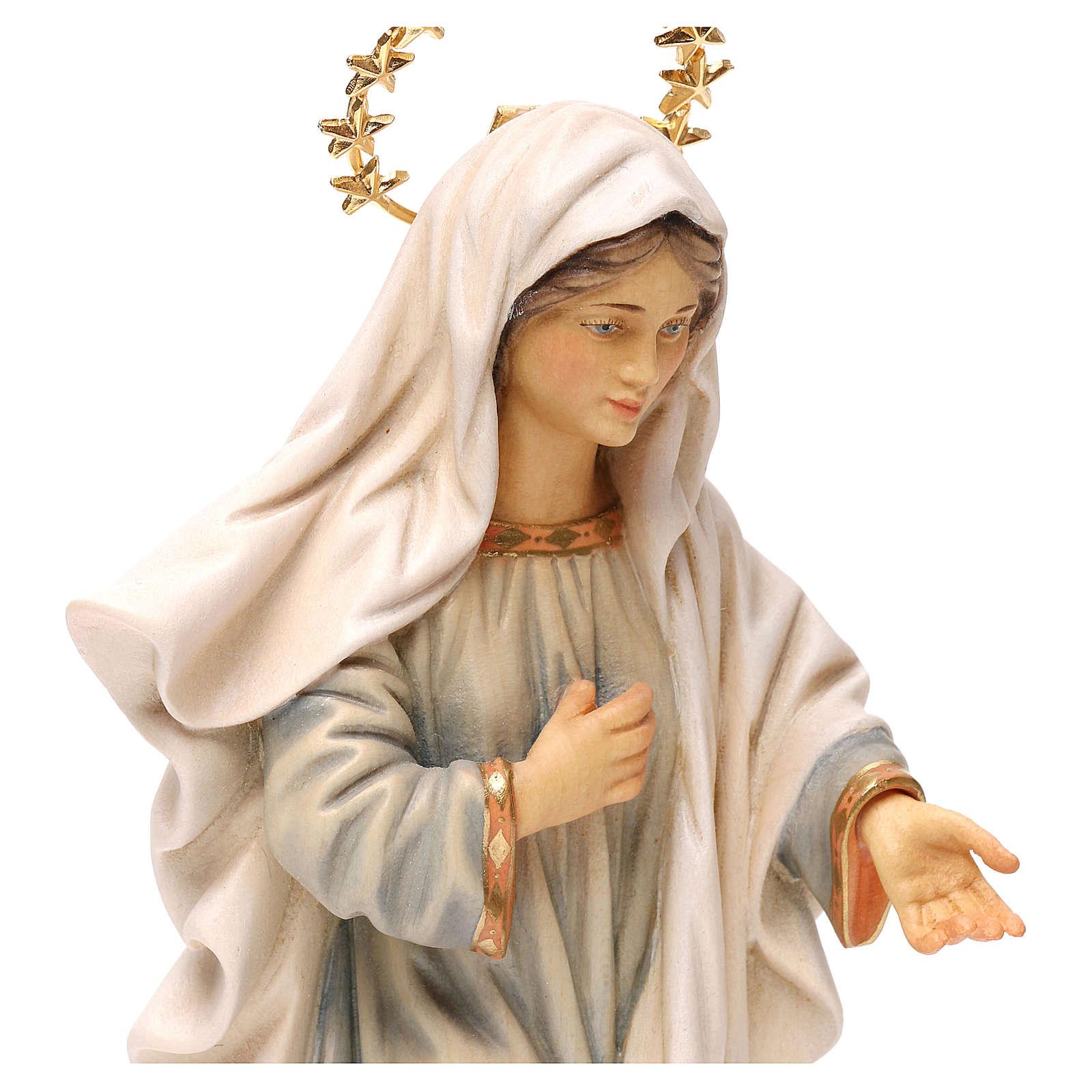 Estatua Virgen Medjugorje con corona de rayos madera pintada Val Gardena 4