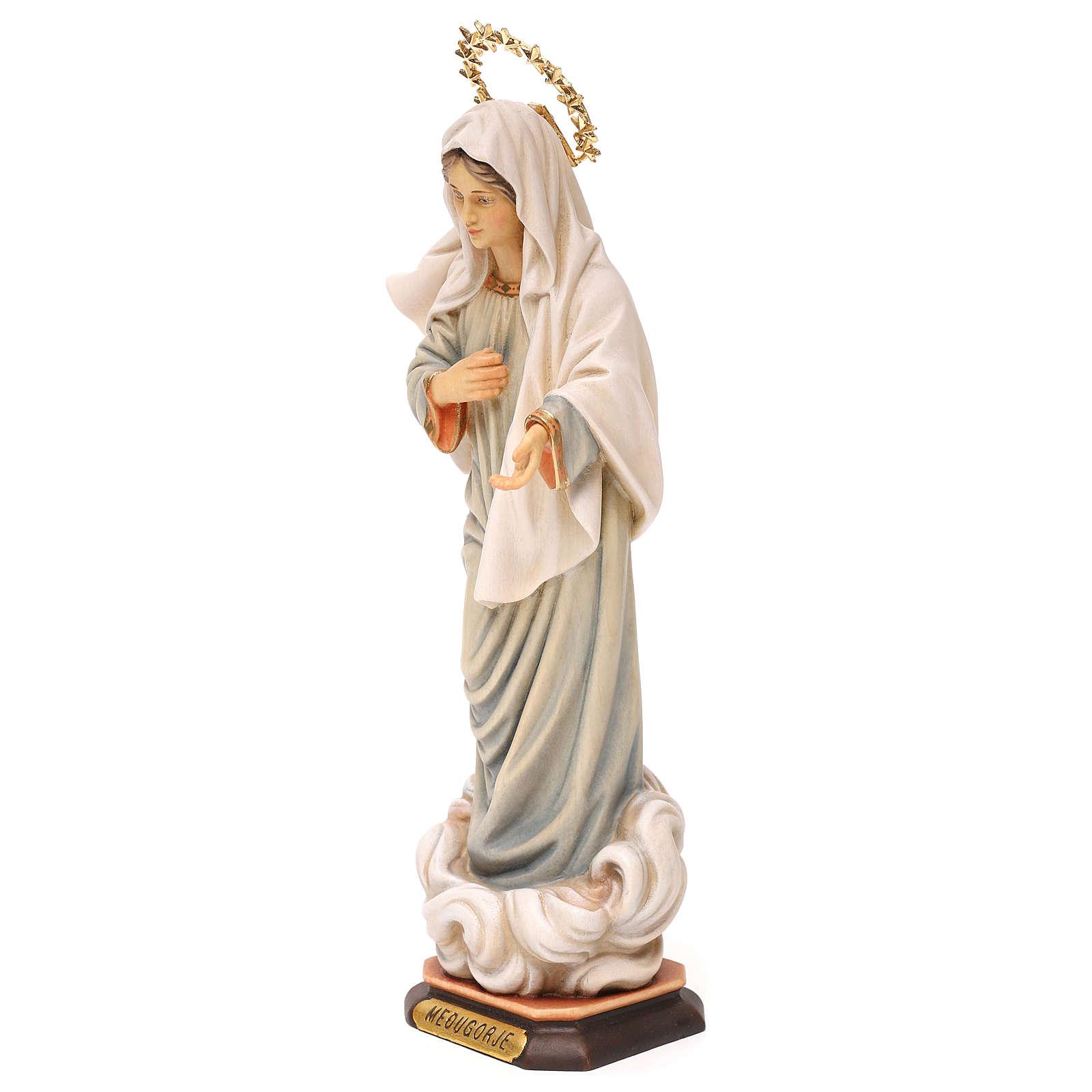 Statue Notre-Dame de Medjugorje avec auréole de rayons bois peint Val Gardena 4