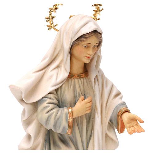 Statue Notre-Dame de Medjugorje avec auréole de rayons bois peint Val Gardena 2