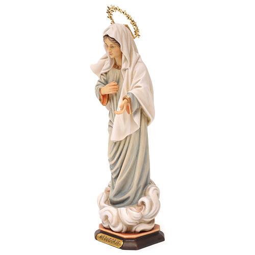 Statue Notre-Dame de Medjugorje avec auréole de rayons bois peint Val Gardena 3