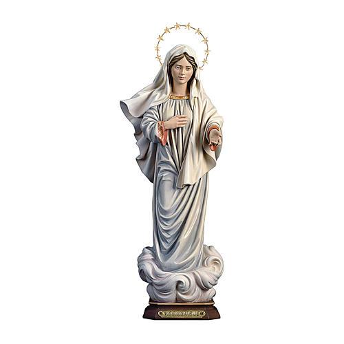 Statua Madonna Medjugorje con raggiera legno dipinto Val Gardena 1