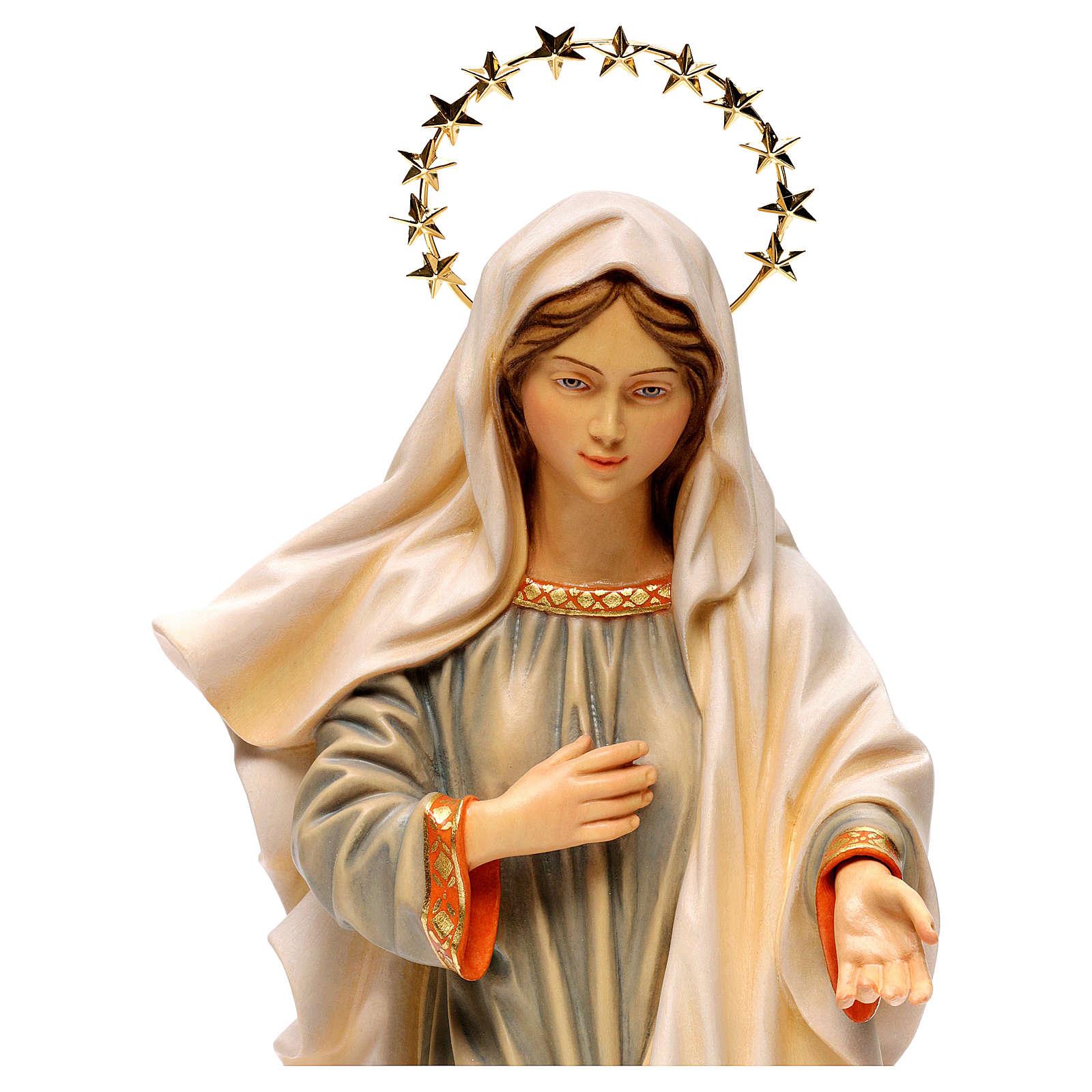 Estatua Virgen reina de la paz con corona de rayos madera pintada Val Gardena 4