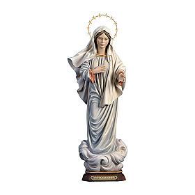 Statua Madonna regina della pace con raggiera legno dipinto Val Gardena s1