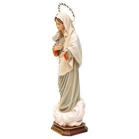 Statua Madonna regina della pace con raggiera legno dipinto Val Gardena s3