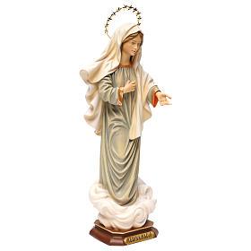 Statua Madonna regina della pace con raggiera legno dipinto Val Gardena s4