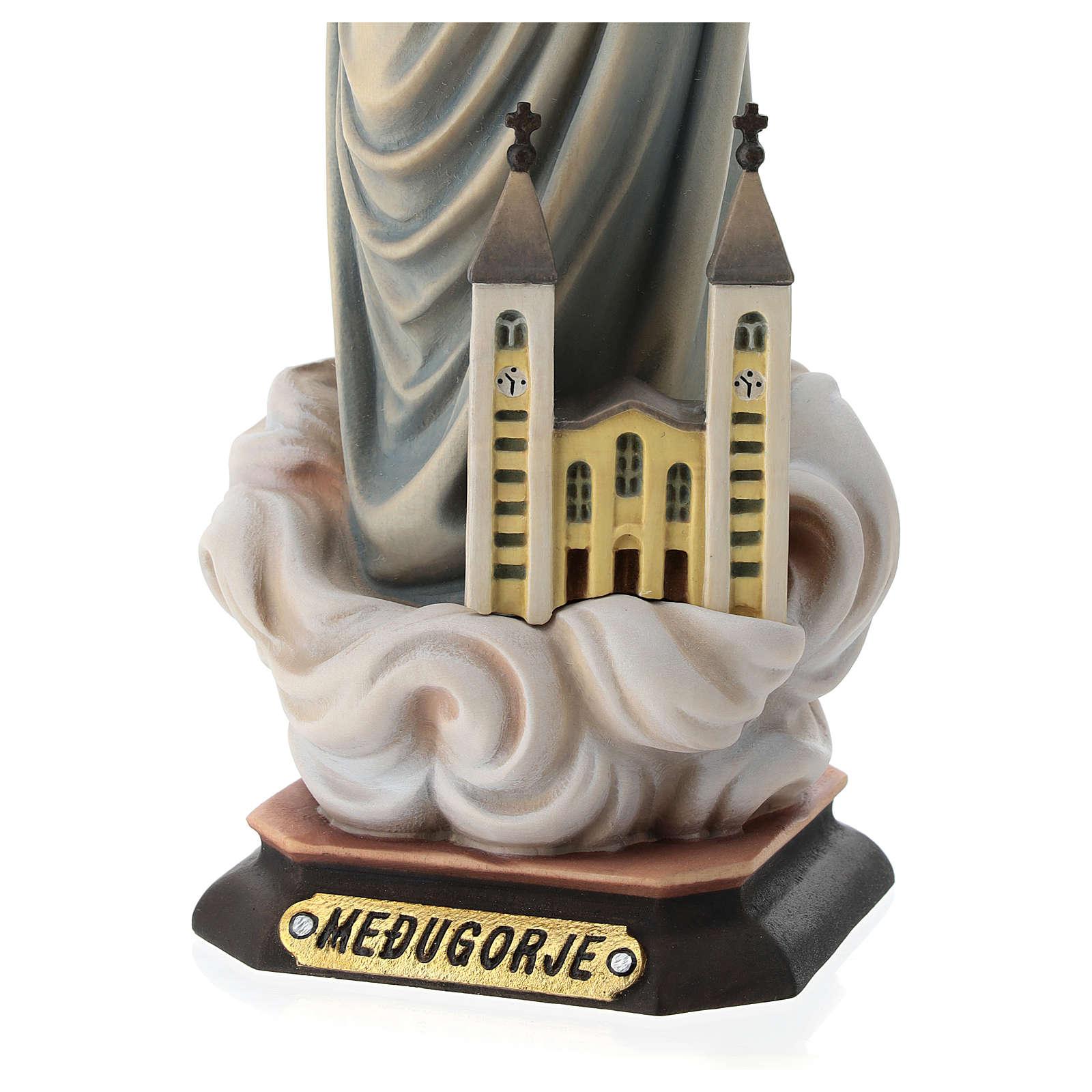 Statue Notre-Dame de Medjugorje avec église et auréole bois peint Val Gardena 4