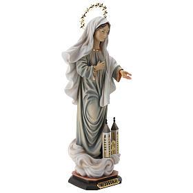 Statue Notre-Dame de Medjugorje avec église et auréole bois peint Val Gardena s5