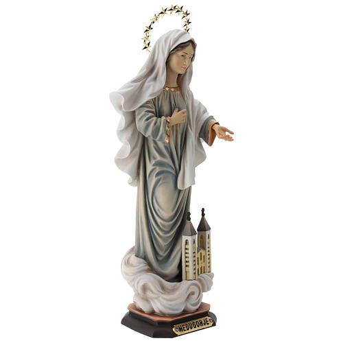 Statue Notre-Dame de Medjugorje avec église et auréole bois peint Val Gardena 5