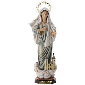 Statua Madonna di Medjugorje con chiesa e raggiera legno dipinto Val Gardena s1