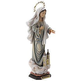Statua Madonna di Medjugorje con chiesa e raggiera legno dipinto Val Gardena s5
