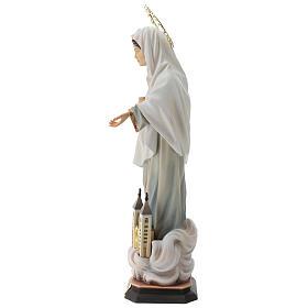 Statua Madonna di Medjugorje con chiesa e raggiera legno dipinto Val Gardena s6