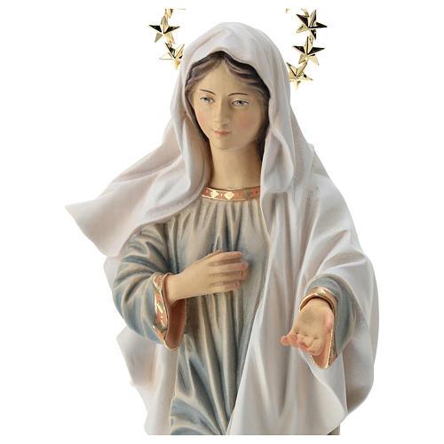 Statua Madonna di Medjugorje con chiesa e raggiera legno dipinto Val Gardena 2