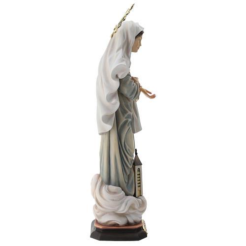 Statua Madonna di Medjugorje con chiesa e raggiera legno dipinto Val Gardena 7