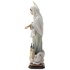 Madonna of Medjugorje Statue with Church and Halo wood painted Val Gardena s6
