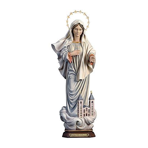 Estatua María reina de la paz con iglesia y corona de rayos madera pintada Val Gardena 1