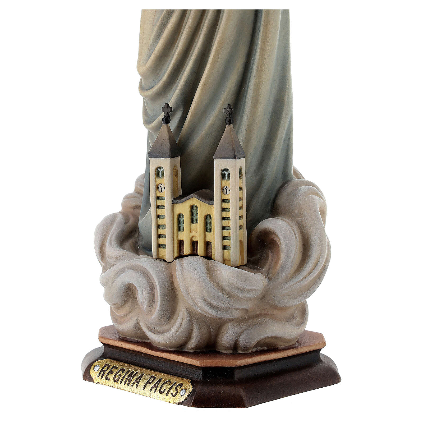 Statua Maria regina della pace con chiesa e raggiera legno dipinto Val Gardena 4