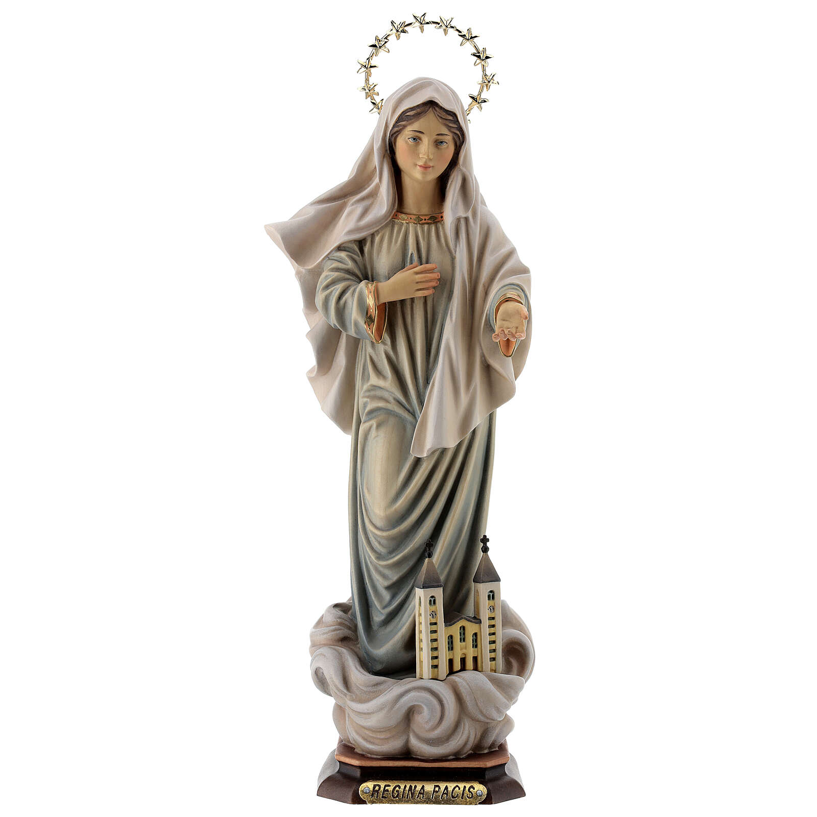 Mary Queen of the Peace Statue with Church and Halo wood painted Val Gardena 4
