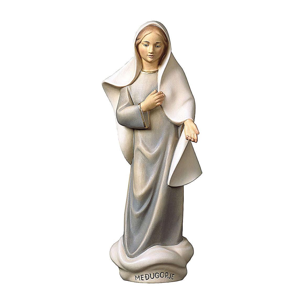 Statue Notre-Dame de Medjugorje moderne bois peint Val Gardena 4