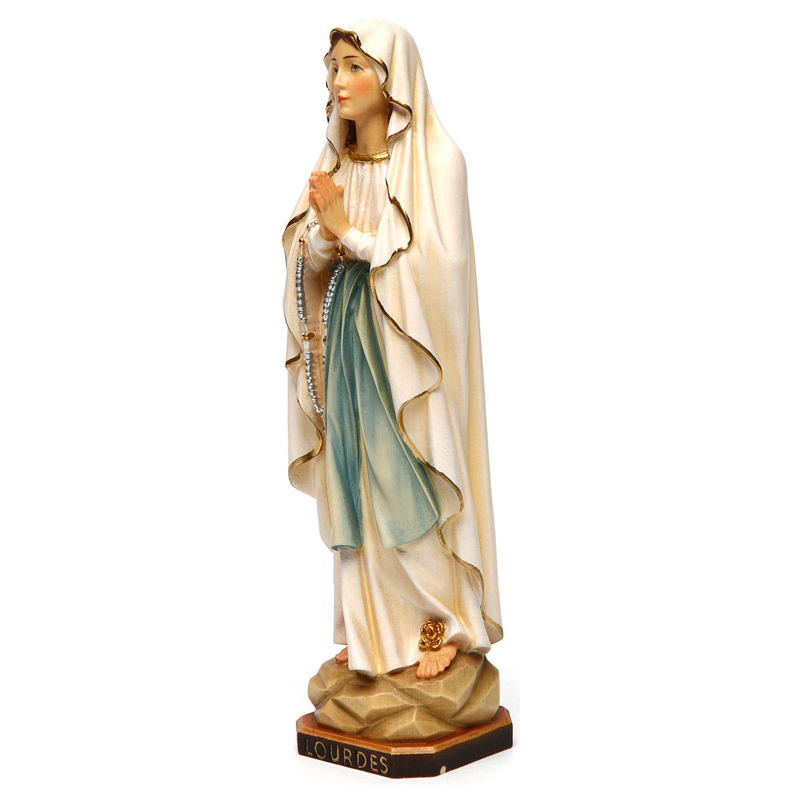 Estatua Virgen de Lourdes madera pintada Val Gardena 4