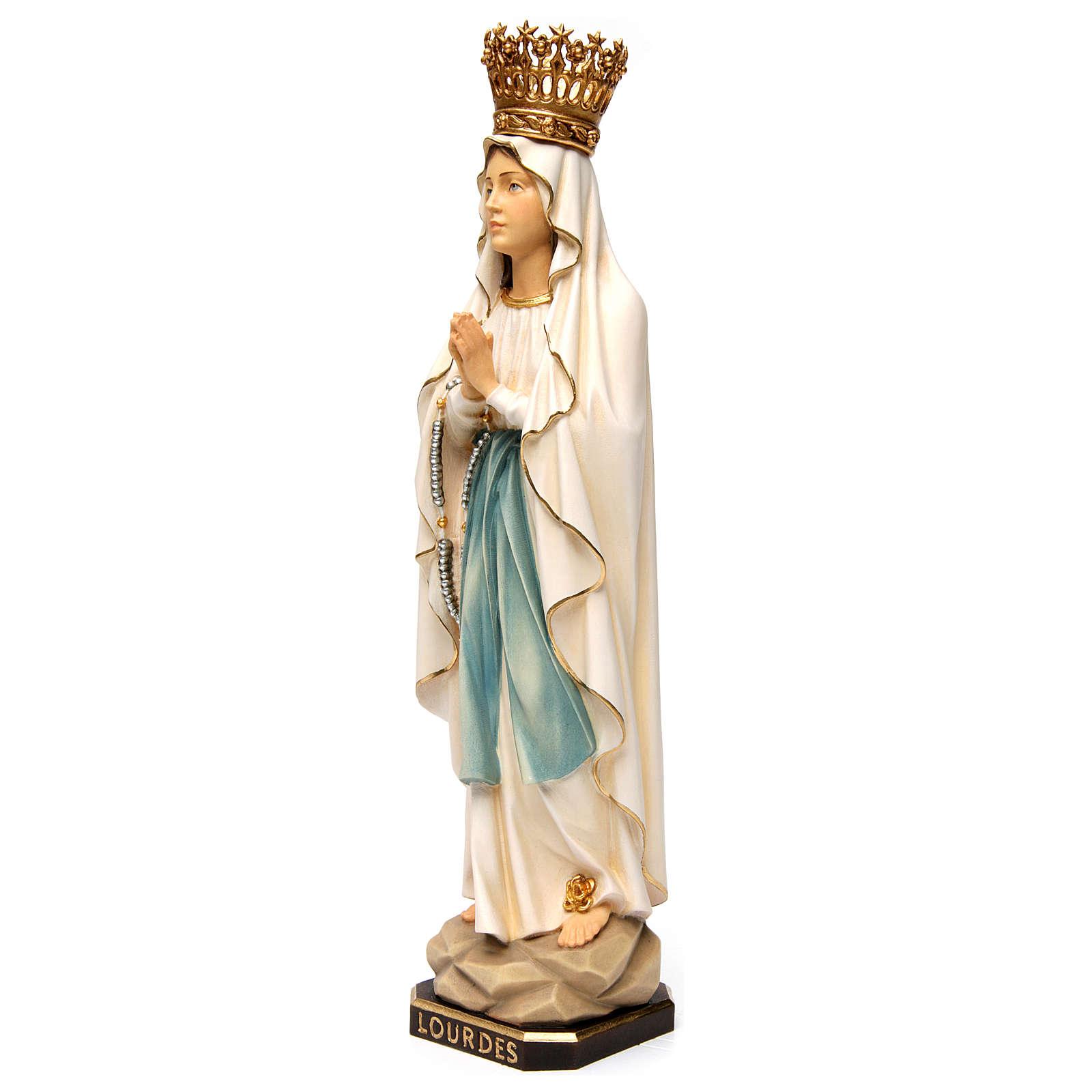 Estatua Virgen de Lourdes con corona madera pintada Val Gardena 4