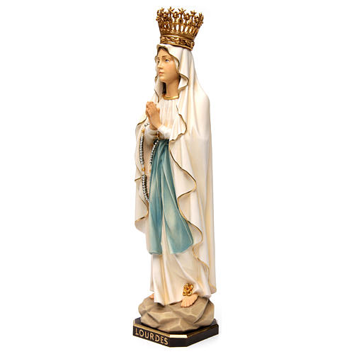 Estatua Virgen de Lourdes con corona madera pintada Val Gardena 3