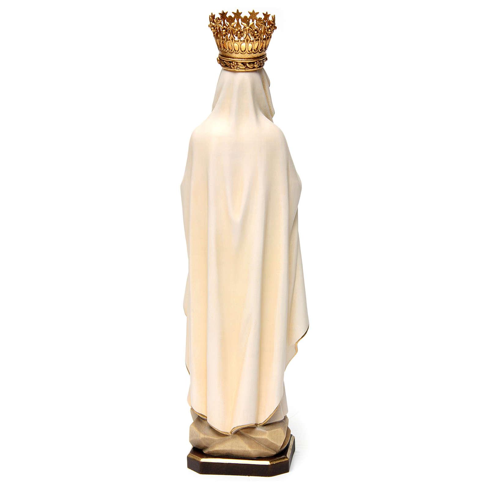Statua Madonna di Lourdes con corona legno dipinto Val Gardena 4