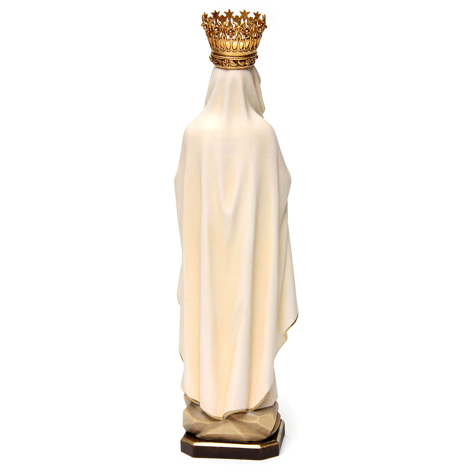 Our Lady of Lourdes Statue with Crown painted wood Val Gardena 4
