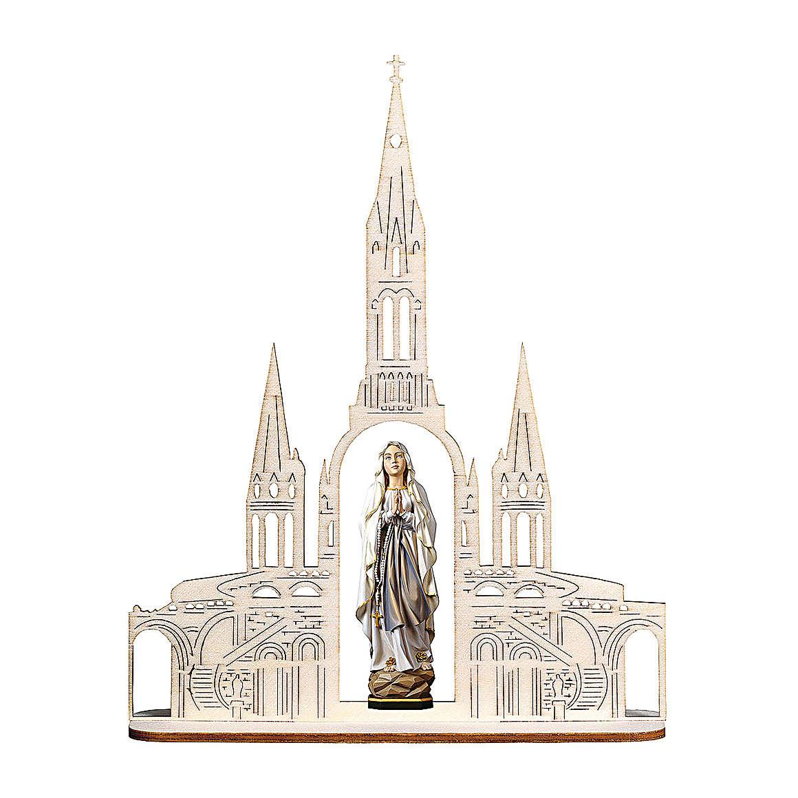 Estatua Virgen de Lourdes con basílica madera pintada Val Gardena 8(20x16) cm 4
