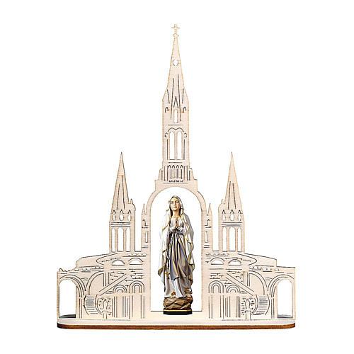 Estatua Virgen de Lourdes con basílica madera pintada Val Gardena 8(20x16) cm 1