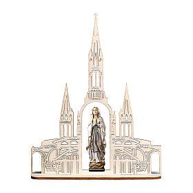 Statua Madonna di Lourdes con basilica legno dipinto Val Gardena 8(20x16) cm