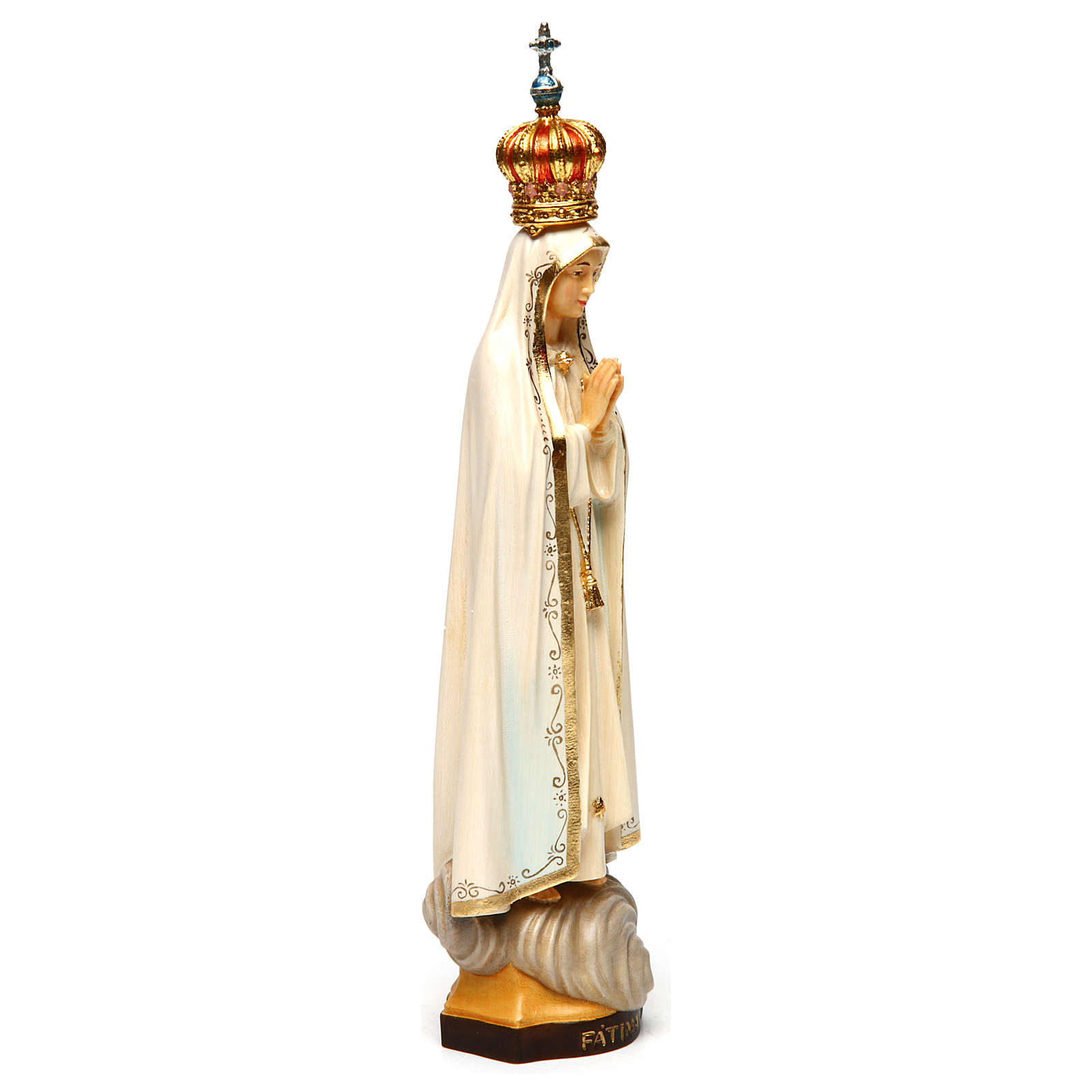 Our Lady of Fatima Capelinha with crown statue in painted wood, Val Gardena 4